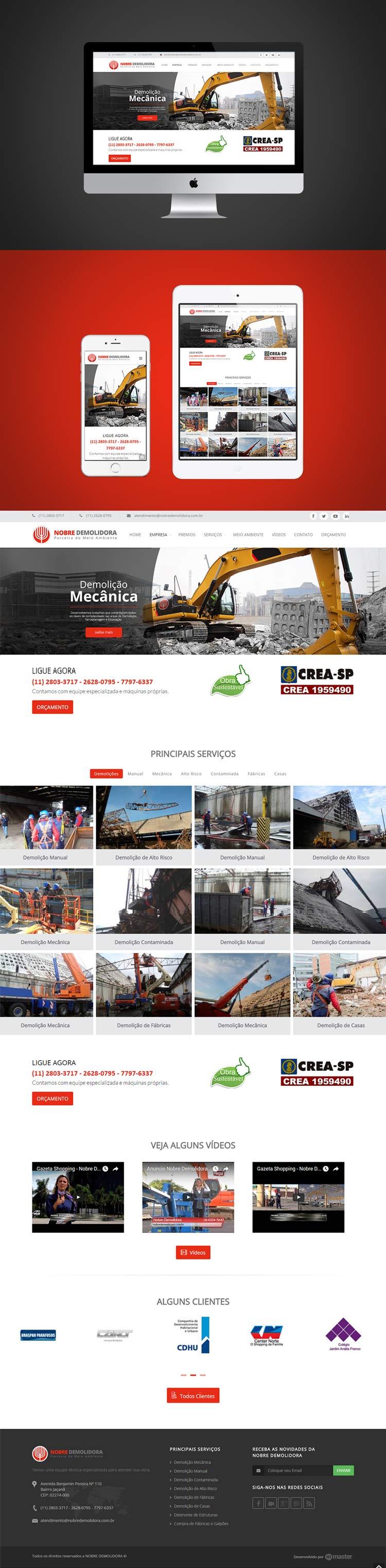 Criação de Site Nobre Demolidora Demolição Especializada