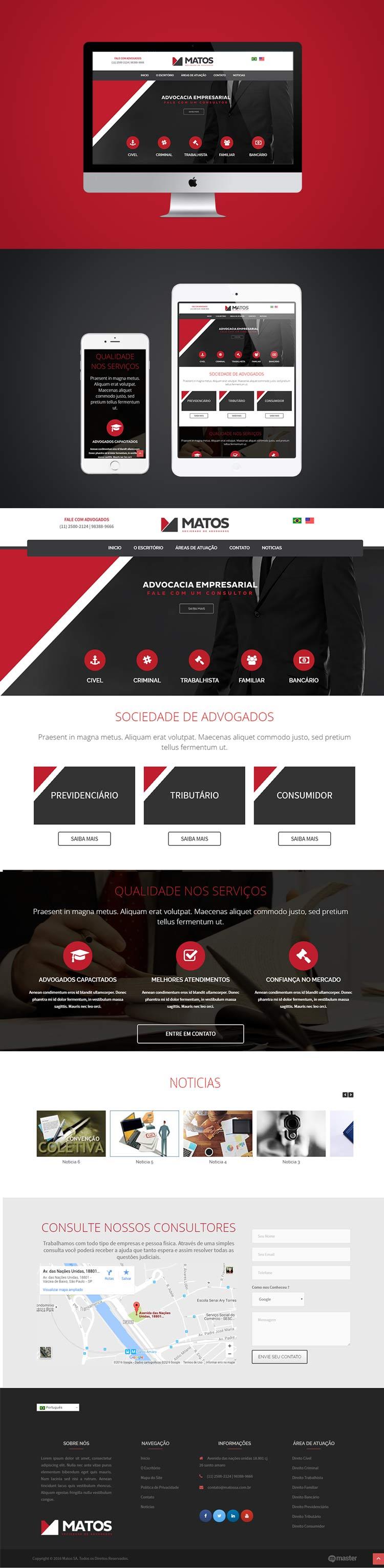 Criação de site Matos SA Sociedade de Advogados